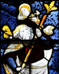 Fig. 9: Fifteenth-century image of St Christopher in stained glass, Great Malvern Priory Church, Worcs.