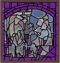 Fig. 2. Condition diagram that highlights old restoration glass pieces marked in purple.