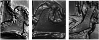 Fig. 7. RTI images capturing the paint strokes of three different feet. Inconsistencies appear to be due to deterioration and may suggest a restoration campaign.