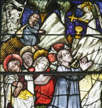 Fig. 9. Detail from a window narrating the Life of Christ and the Virgin, showing The Agony in the Garden, Boppard-am-Rhein, Germany, 1440-46.
