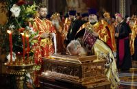 Fig. 1. His Holiness Patriarch Kirill of Moscow and All Russia greets the relics of St Nicholas in Moscow cathedral © AP