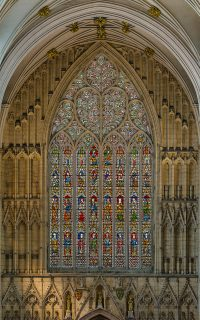 Fig. 1 The fourteenth-century west window of the nave at York Minster. Just one of the cathedral's stained glass masterpieces.
