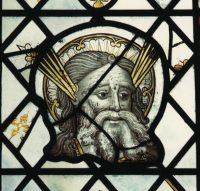 Fig. 1. Head of Moses, Norwich glass painting c1450-60, Erpingham Window (nX).