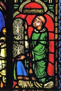 Fig. 1. Abbot Suger, offering a stained glass window, at the foot of the Jesse Tree at Saint-Denis, Paris.
