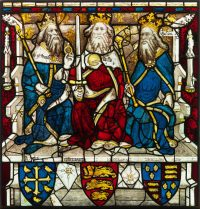 Fig.5. King Edward the Confessor, King William I and King Edward III, panel 1d. Photo: The York Glaziers Trust, reproduced courtesy of the Chapter of York.