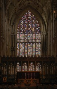 Fig.6. The Great East Window January 2018, following conservation. Photo: The York Glaziers Trust, reproduced courtesy of the Chapter of York.