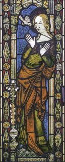 Fig. 1. Virgin from the Annunciation, from the church of St John the Baptist, Hadzor (Worcs), now at the Stained Glass Museum.