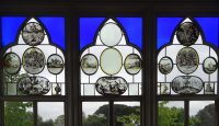 Fig. 3. Detail of the bay window in the Great Parlour at Strawberry Hill, set with a range of Netherlandish paint-ed glass roundels from Walpole's collection.