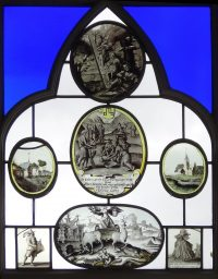 Fig. 5. Detail of a window light at Strawberry Hill illustrating the iconographic range of Walpole's painted, includ-ing the biblical episodes, Jacob's Dream (top) and the Israelites gathering Manna (centre), the Classical triumph of time (bottom), landscape scenes flanking, and a pair of musical figures.