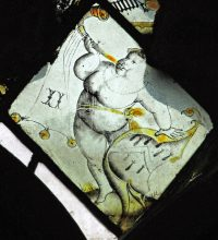 Fig .7. Foulsham: Putto with shield of the Grocers' arms. Mike Dixon.