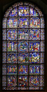 Fig. 4. Typolgical window from the choir aisle at Canterbury Cathedral, just one of the priceless historic windows under the care of the Canterbury Stained Glass Studio.