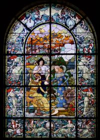 Fig. 1. Eugéne Grasset (designer), Félix Gaudin (maker). Le travail par l'industrie et le commerce enrichit l'humanité, 1900. Stained glass window in the Chamber of Commerce, Paris, France. Used as the cover illustration of Windows for the World (Photograph by Jasmine Allen, reproduced with kind permission of the CCI Paris).