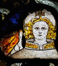 Fig. 1. Detail of Angel, South chapel window at East Sutton church.