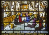 Fig. 3. Scene from the Life of St Bernard, showing angels monitoring members of Bernard's monastic community, from a series installed in the cloister at Altenburg Abbey, in the early sixteenth century, now on the north side of the chancel at St Mary's, Shrewsbury (Photo: Gordon Plumb).