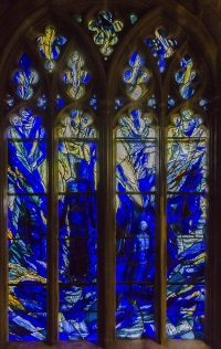 Fig. 1. Detail from Tom Denny's glazing of the St Thomas Chapel, Gloucester Cathedral, installed as part of the 900th anniversary of Abbot Serlo's 1089 laying of the foundation stone of St Peter's Abbey (now Cathedral).