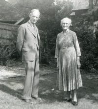 Fig. 22. Bernard and Ruth in the garden at Fort Road, Guildford. Courtesy, Anne S. Wright, Rackham family archive.