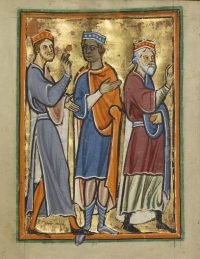 Fig. 7: The Magi Approaching Herod, from an illustrated Life of Christ , East Anglia (possibly Norfolk), England, about 1190–1200 and about 1480–90, artist unknown, © The J. Paul Getty Museum, Los Angeles, Ms. 101, fol. 35v. By permission of The J. Paul Getty Museum