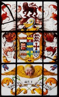 Flintham (Nottinghamshire): arms of Disney, for ?Daniel Disney, whose son John married Mary, daughter of William Woolhouse, MD, on 20 May 1698.