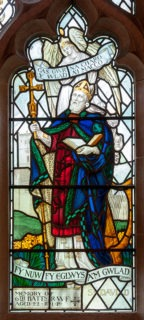 Fig. 2. William Aikman, St David, c.1918, Church of St Pedrog, Llanbedrog, nave (Image © Martin Crampin)