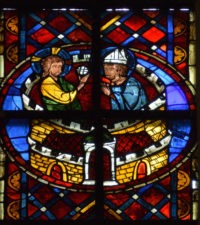 Fig. 13 Christ administers Communion to incarcerated St Denis. Saint-Gatien Cathedral, Tours, France, window 211, panel 2a, c. 1250-75.