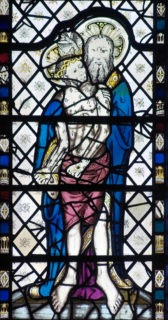 Fig. 15 'Corpus Christi' panel from St John's, Micklegate, York, c.1450-75. Now in York Minster window n20.