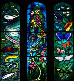 Fig. 1. Stained glass window at All Saints Church, Farnborough, West Berkshire, featuring symbols of The Resurrection: fishes; tree of life; butterflies. Designed by John Piper and made by Joseph Nuttgens. (Photo: Andrew Loutit. © The Piper Estate / DACS 2021)